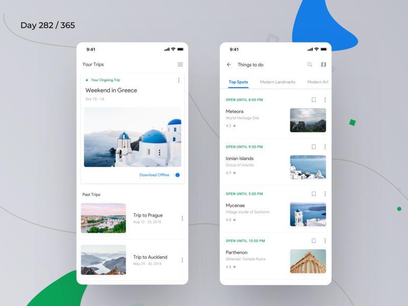 Google Trips App Redesign | Day 282/365 - Project365 by Kishore on