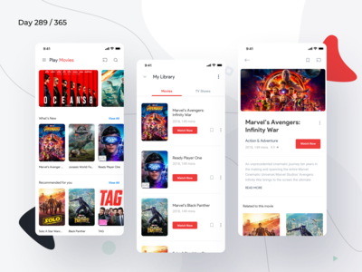 Google Play Movies App Redesign | Day 289/365 - Project365
