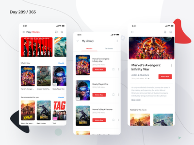 Google Play Movies App Redesign | Day 289/365 - Project365 movies app play movies google play movies ios sketch android pie design material 2018 material 2.0 google play music design-challenge mobile-app challenge daily-ui redesign-tuesday minimal mobile app redesign redesign concept project365