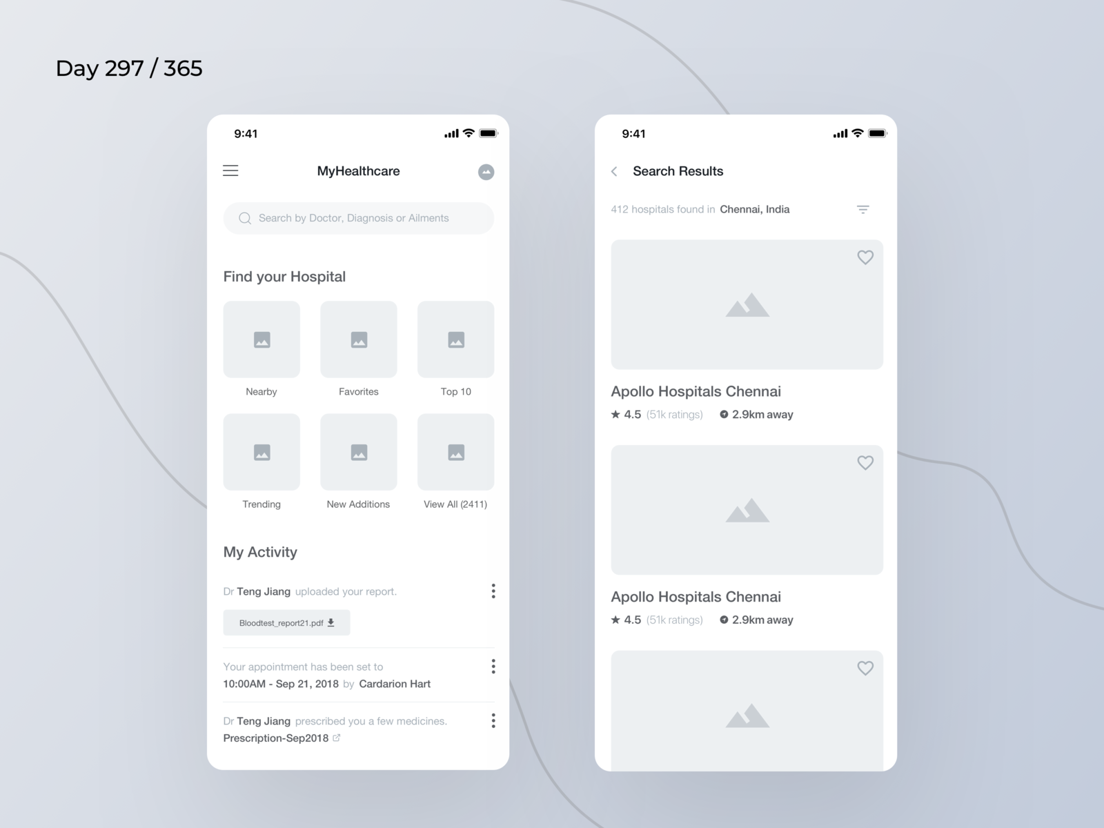 Hospital Finder App Wireframe | Day 297/365 - Project365 by Kishore