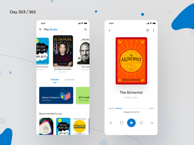 Google Play Books App Redesign   Day 303/365 - Project365 books mobile audio books books app google play books google play ios sketch android pie design material 2018 material 2.0 google play music design-challenge mobile-app challenge daily-ui redesign-tuesday minimal mobile app redesign redesign concept project365