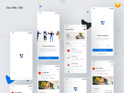 Coupons & Discounts App Freebie | Day 306/365 - Project365 groupon discounts app offers app shopping offers discounts coupons free ui kit iphone x colorful sketch ios sketch freebie freebie freebie-friday mobile-app project365 challenge daily-ui design-challenge ui kit