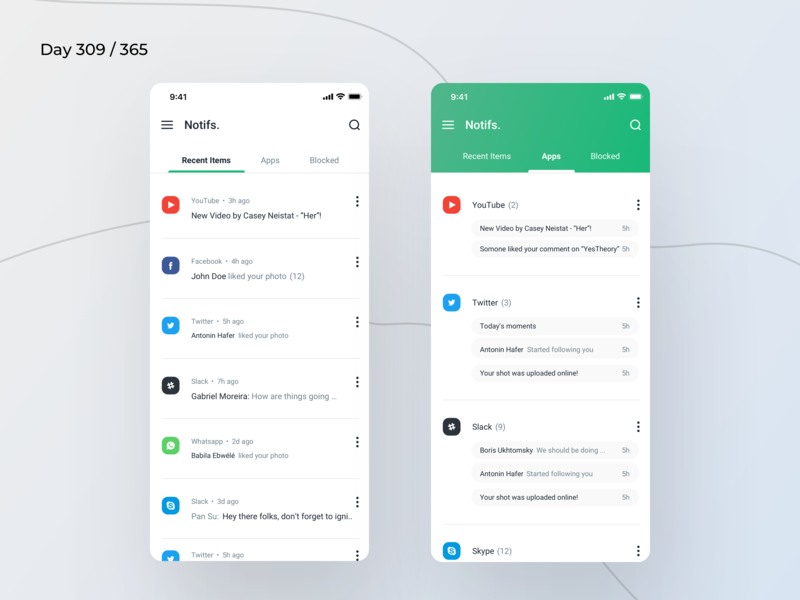 Notifications Saver App Concept | Day 309/365 - Project365 app log notifications log past notifications notification saver notification log ios12 ios11 ios mobile-app mobile app project365 design-challenge daily-ui minimal minimal-monday