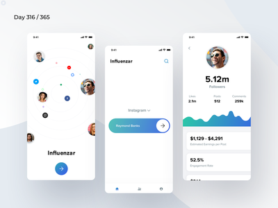 Influencer Rate Card App | Day 316/365 - Project365 ratings money rating celebrities facebook instagram instagrammers youtubers youtube celebrities social media influencers minimal-monday minimal daily-ui design-challenge project365 mobile app mobile-app ios ios11 ios12