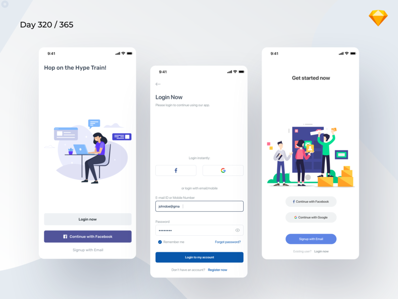 Mobile Login Pages Freebie | Day 320/365 - Project365 sketch app freebie ios login page login ios login pages mobile app mobile bold illustration saas ui kit design-challenge daily-ui challenge project365 freebie-friday freebie sketch freebie sketch