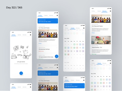 Daily Mood Diary App Concept | Day 322/365 - Project365 mobile calendar ui calendar view moodswings daily diary journal app memories app mood app daily mood personal journal daily diary personal diary diary project365 daily-ui mobile-app sketch minimal ios super-sunday super sunday