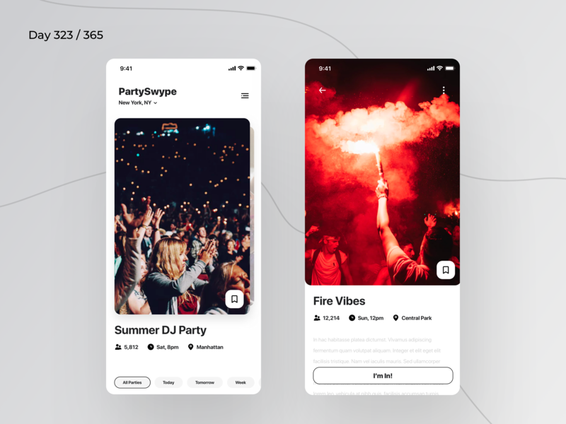 PartySwype - Tinder Style App | Day 323/365 - Project365 minimal parties app nearby parties app parties app swipe tinder tinder style party ios12 ios11 ios mobile-app mobile app project365 design-challenge daily-ui minimal minimal-monday