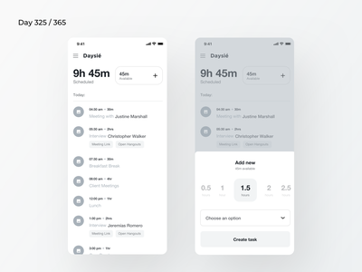 Day Planner App Wireframe | Day 325/365 - Project365 organized day organizor tasks planner day planner ios wireframe project365 design-challenge minimal mobile-app wireframe-wednesday ux app design mobile ux daily-ui wireframing