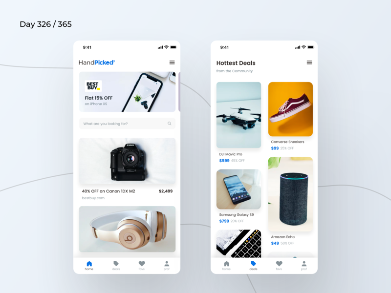 Hand Picked Deals Finder Concept | Day 326/365 - Project365 masonry ios grid shop listing nearby deals deals finder ecommerce shopping blackfriday deals handpicked ios mobile-app minimal project365 sketch design-challenge disruptive-thursday