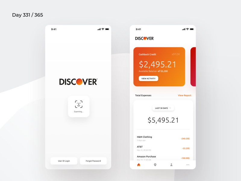 Discover Mobile App Redesign Concept | Day 331/365 - Project365 credit expenses expenses credit card app banking app discover ios app discover credit card mobile app discover credit ios sketch design-challenge mobile-app challenge daily-ui redesign-tuesday minimal mobile app redesign redesign concept project365