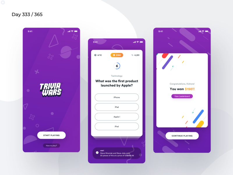 Live Trivia Game App Concept | Day 333/365 - Project365 sketch project365 minimal mobile-app ios purple circular-std fun game ios game trivia gameplay live trivia game live game disruptive disruptive-thursday