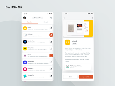ProductHunt Mobile App Redesign | Day 338/365 - Project365 mobile producthunt product hunt app apps producthunt project365 redesign concept mobile app redesign minimal redesign-tuesday daily-ui challenge mobile-app design-challenge sketch ios