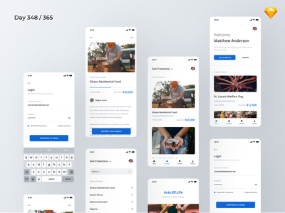 Charity/Non-Profit App - Freebie | Day 348/365 - Project365 non profit donations ngo charity donation good karma causes non profit donation charity mobile app mobile bold ui kit design-challenge daily-ui challenge project365 freebie-friday freebie sketch freebie sketch