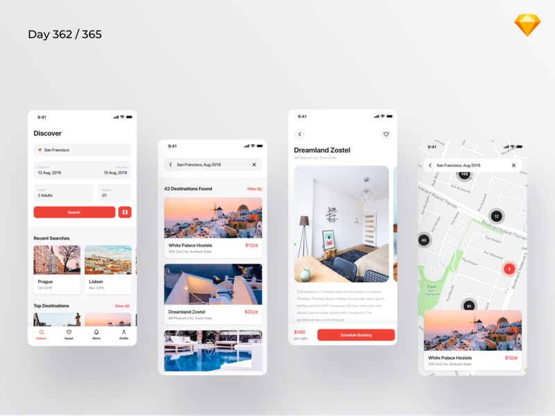 Hostel Booking App - Freebie | Day 362/365 - Project365 travel app places hotels accomodation hostels travel hostel booking sketch sketchapp mobile app mobile bold ui kit design-challenge daily-ui challenge project365 freebie-friday freebie sketch freebie