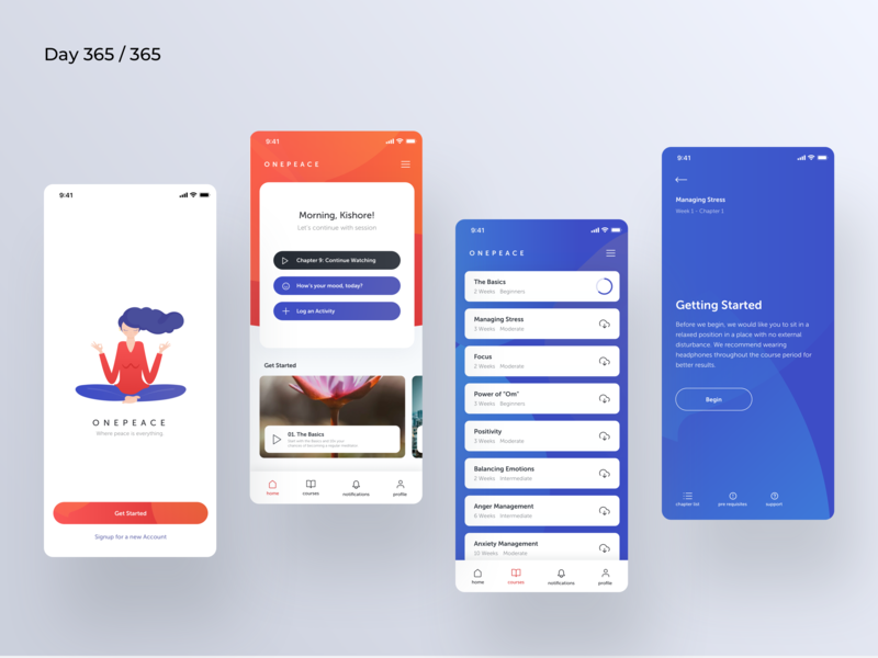 Meditation App Concept | Day 365/365 - Project365 meditating app for meditation meditation peace meditation ios mobile-app project365 design-challenge daily-ui minimal minimal-monday