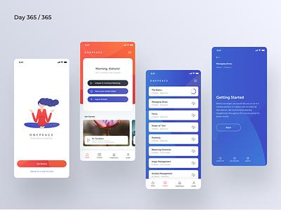 Meditation App Concept | Day 365/365 - Project365 meditating app for meditation meditation peace meditation ios mobile-app project365 design-challenge daily-ui minimal minimal-monday