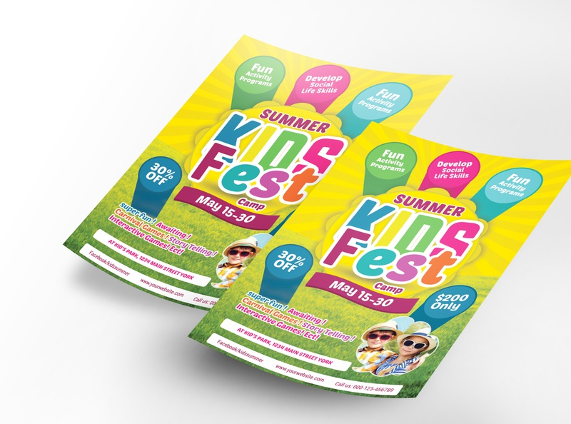 Kids Summer Fest Flyer promotion magazine kids kid junior jungle holiday green family event college chat cartoon camps camping blue balloon adventure ads activity