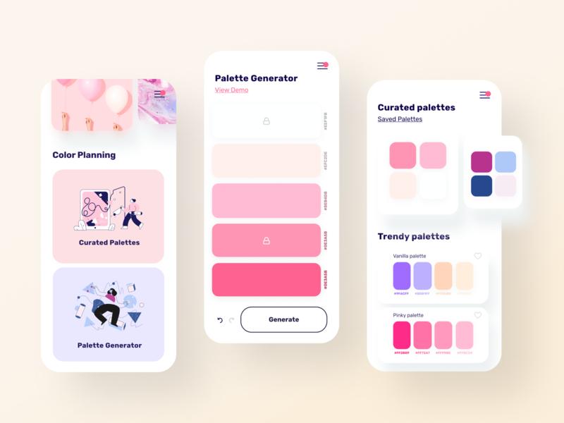 Color Palette Manager | Find, create, and view color palettes minimal pink creative manager ui rad mobile app design palette generator palettes palette trendy color palette colorful colorscheme colors color app