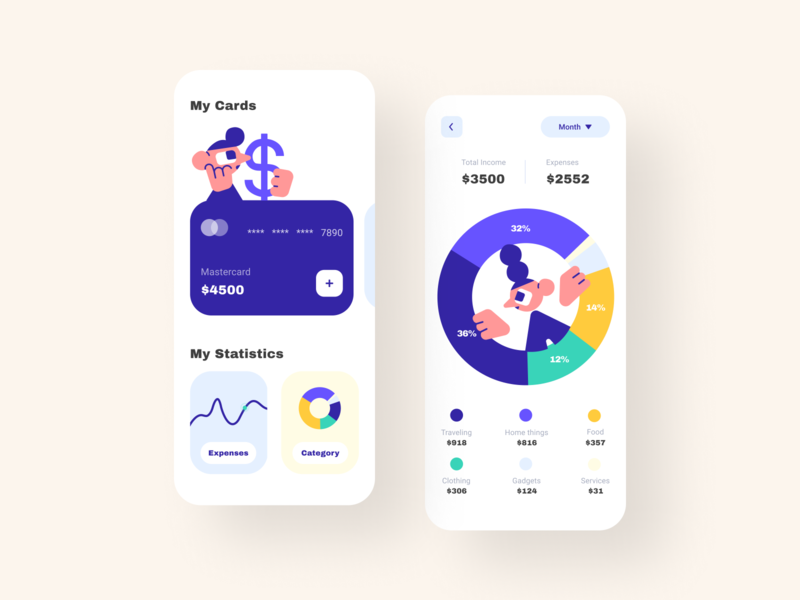 Budget app💰 fun cards money bag statistics expense income bank card card illustration color app design ui money management bank app banking bank budget money app money