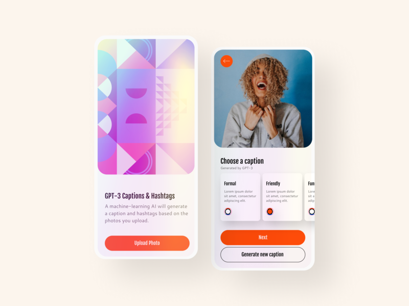 GPT-3 Captions & Hashtags Generator smart hashtag caption generator uidesign uiux dailyui color 2020 trend trendy trend pattern mobile app mobile ui gradients gradient mobile design ui app