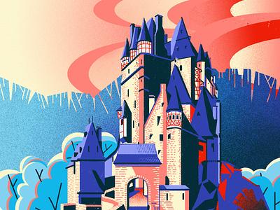 Eltz Castle poster art digital painting editorial illustration illustration photoshop illustration digital illustration