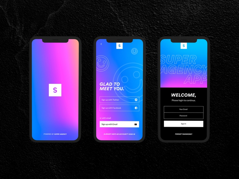 Super Agency App Login Screen login screen rebound website holographic design agency
