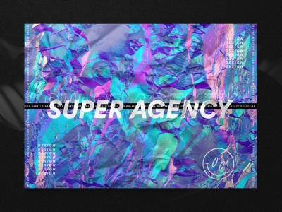 Super Agency Wrinkle Sticker iridescent colors emoji smiley logo typogaphy foil holographic sticker neon identity design branding agency hello