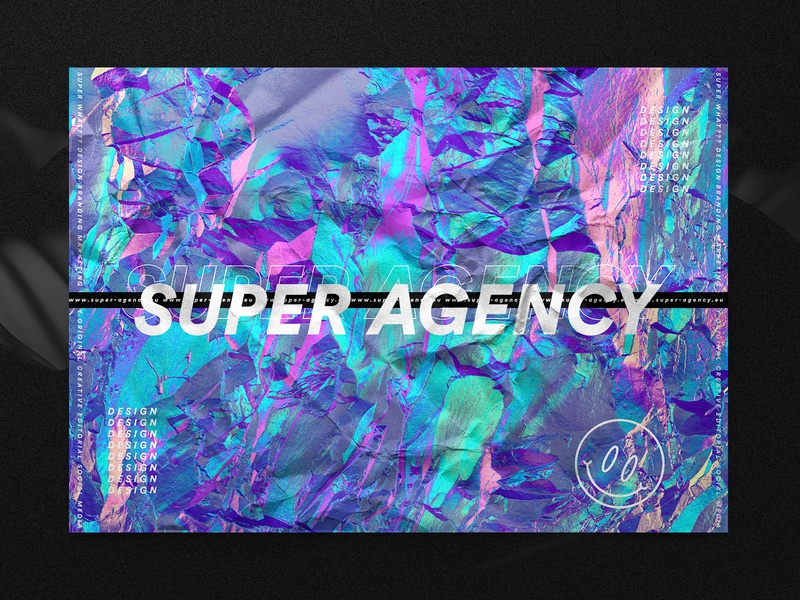 Super Agency Wrinkle Sticker iridescent colors emoji smiley logo typogaphy foil holographic sticker neon identity design branding agency hello