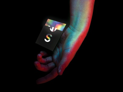 Super Agency Business Card brand neon logo super business card holographic concept hello design branding agency
