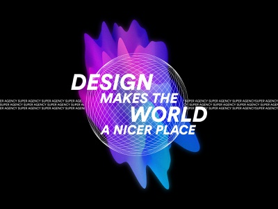 Design Makes The World a Nicer Place vector quote world typeface typo illustration hello neon design branding agency
