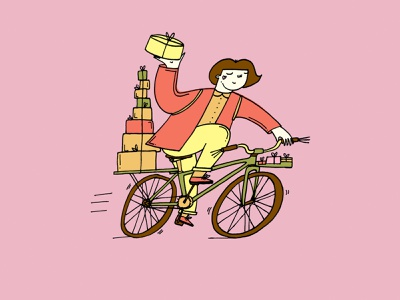 Special Delivery bicycle character bake shop sweets cake shop vegan seredaveganpoint romanaruban drawing confectionery cake illustration cycling