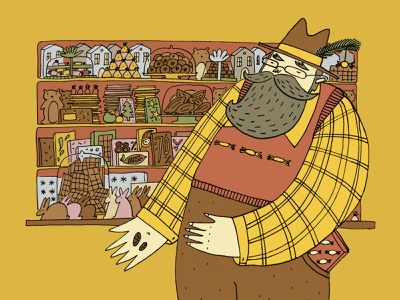 Chocolate Grandpa editorial illustration character candy shop romanaruban drawing sweets candy chocolate confectionery illustration
