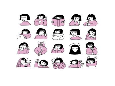 ARMANA girl pink character design character illustration art drawing romanaruban illustration stickers sticker telegram armana