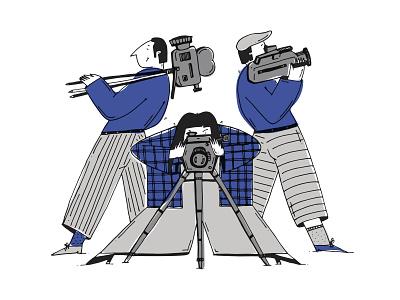 Cinematographers best team simple illustration illustration art drawing romanaruban illustration operator retro movie cinema