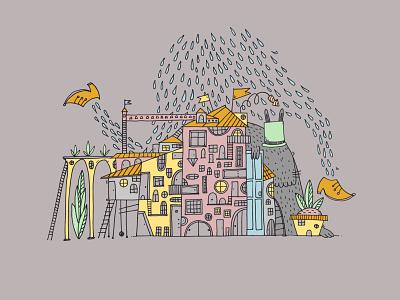 Runner Rain stayhome home castle babynotsitting kids illustration children illustration art drawing romanaruban illustration