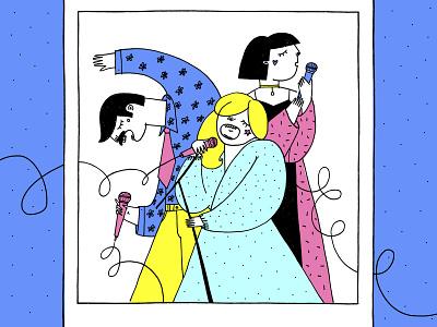 Open Kyiv Karaoke music singers simple illustration art drawing romanaruban illustration characters poster karaoke
