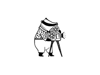 Cameraman Badger simple movie cinema blackandwhite illustration art romanaruban drawing illustration badger