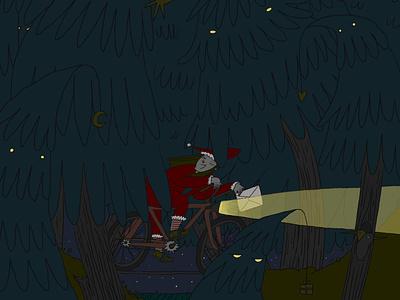 Greetings bicycle wood christmas card new year cycling illustration art drawing romanaruban illustration
