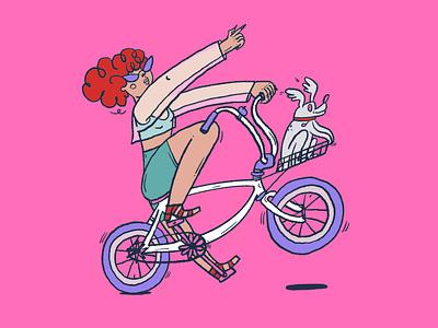 KyivCycleChic 2021 grlpwr pink procreate bicycle cycling illustration art drawing romanaruban illustration