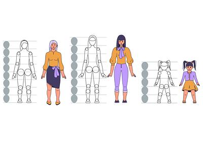 Characters character design vector art artwork peoples realistic grandma woman girls illustration adobeillustator illustrator