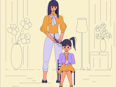 Girls character vector artwork art moments mom woman graphic  design adobeillustator illustration girl