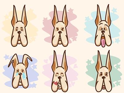 Mr dog emotions character sticker emotion dog vector artwork illustrator illustration art