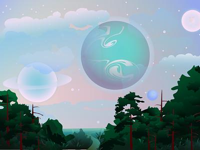The fanciest planet vector night sky nature art illustrator adobeillustator illustration space planet