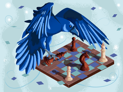 It's not over yet raven crow chessboard game blue bird character graphic  design artwork vector adobeillustator chess illustration art