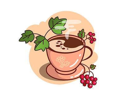 Ukrainian coffee flat vector concept viburnum coffee cup coffee design logo illustration