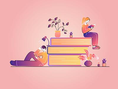 Reading reading artwork people man boy books woman girl character adobeillustator art illustration