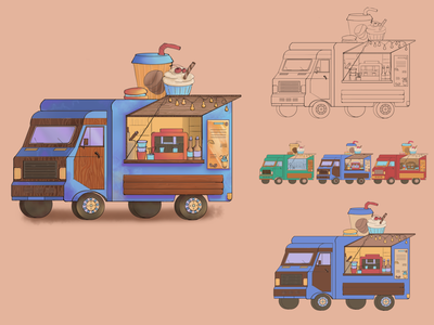 Food truck van car food truck art illustration