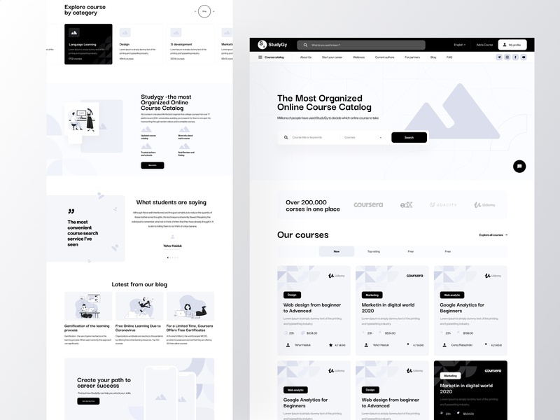 UX for Learning platform hero section search tabs explore reviews webinars courses learning education homepage catalog web clean cards boro ux illustration interface concept ui