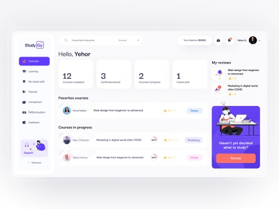 Dashboard StudyGy topbar tabbar reviews courses dashboard web clean illustration cards app design minimal ux interface learning platform learning concept ui