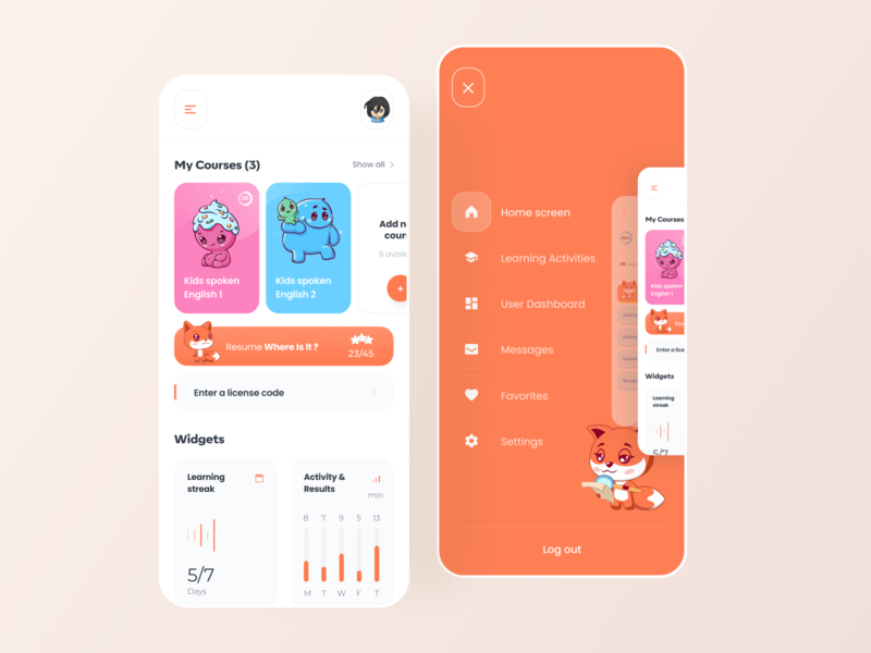Foxxiz - English learning app dashboard cards home screen menu english learning app education app fox illustration app flat app design boro minimal ux interface concept ui